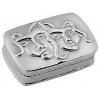 PB492   Ari D Norman Sterling Silver Comedy and Tragedy Pill Box